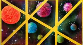 Handmade spray planet painting
