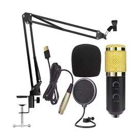 Paket BM-900 Condenser Mic Built-in Sound Card Arm Stand Pop Filter