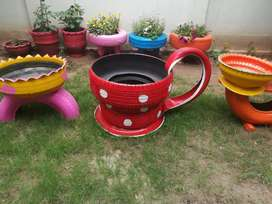 Tyres made pots for (plants)
