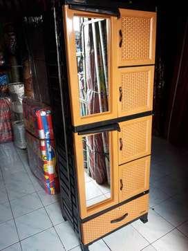 Almari Lemari Rak Kaca Rotan Plastik Baju Pakaian 2 Pintu Susun 4, COD