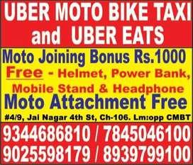 Uber Moto and Uber eats - Huge openings for Bike riders