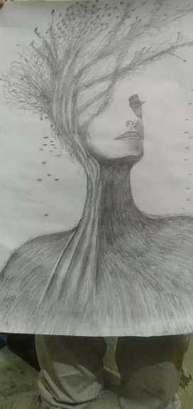 Sketch portrait girlface&tree