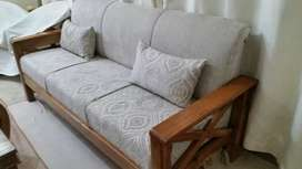 English style five seater wooden sofa cushioned with molty foam