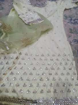 Light green colour plazo suit with heavy dupatta full stitch