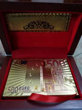 Colorful Gold Plated Playing Cards with Premium Wooden Box.