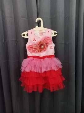 Gaun dress anak pink lucu rumbai new