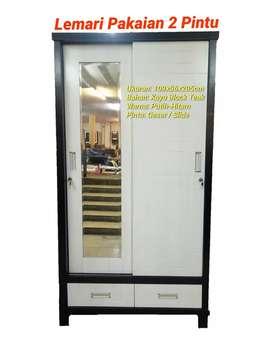 Lemari Pakaian 2 Pintu Cermin / Pintu Geser / Slide - Kayu