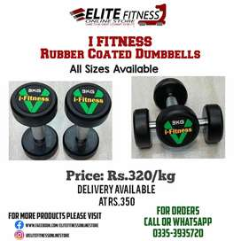 IFITNESS Rubber Coated Dumbell Rs.320/kgs