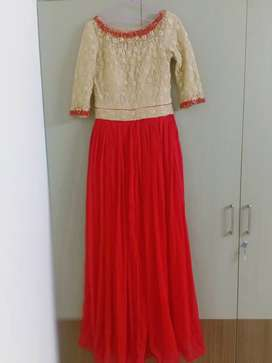 Gold and red   Elegant evening  gown