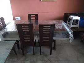 6 chairs Glass dining table set.