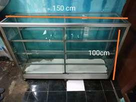 etalase ukuran 150x100 kaca tebal