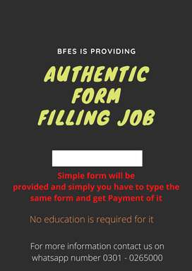 Authentic Form Filling job – needed laptop/ with internet