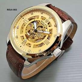 jam tangan rolex automatic strap kulit warna gold elegant