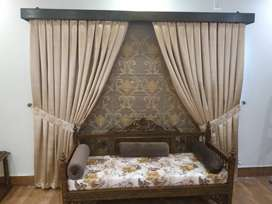 Organza blind with plain curtain