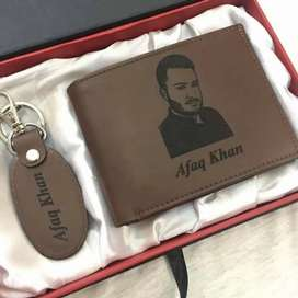 Customized wallet and keychain with engraving