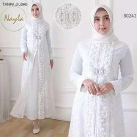 Gamis Nayla Putih-Busana Muslim Syari'i