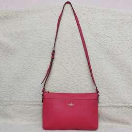Coach pink kulit asli made in Philippines sling bag