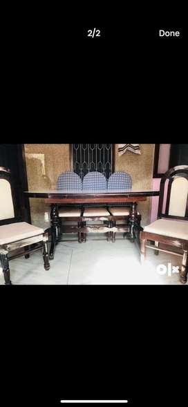 SUPERB CONDITON BROWN DINNING TABLE NEPAL SANGWAN WOOD