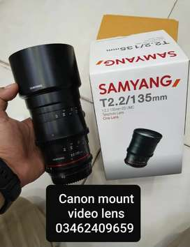 Samyang 135MM T2.2 video lens canon mount available condition 10/9