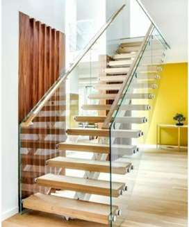 Handrail with toughened glass