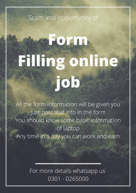 Scam less opportunity of form filling online job for students