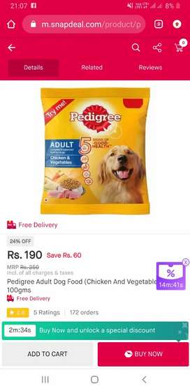 Pet dog and food available..