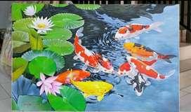 Lukisan ikan koi 3d + pigura
