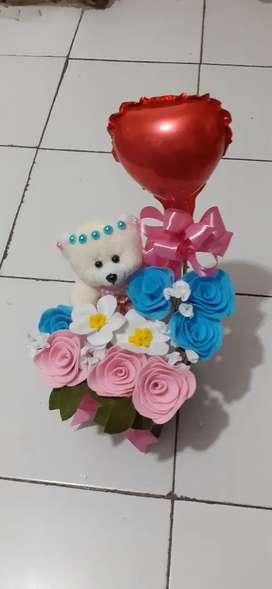 Balon love plus bunga flanel mix