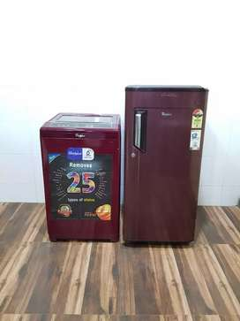 Whirlpool 190ltrs single door refrigerator n automatic washing machine