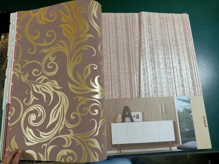 Wall paper whol sale m and glass paper and curtains