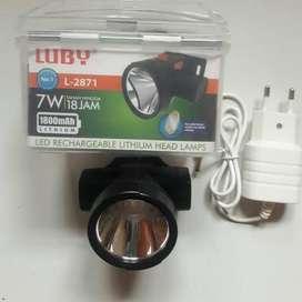 SENTER KEPALA LUBY L2871-LAMPU LED 7W CHARGER TAHAN 18JAM-TERANG