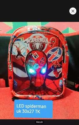Tas anak laki laki led mata nyala spiderman