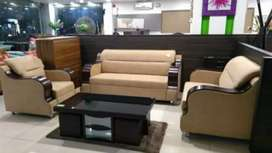 0% Emi Bajaj finserv 5 seater wooden handle sofa