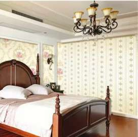 Wallpaper vinyl motif polos harga sudah termasuk pemasangan