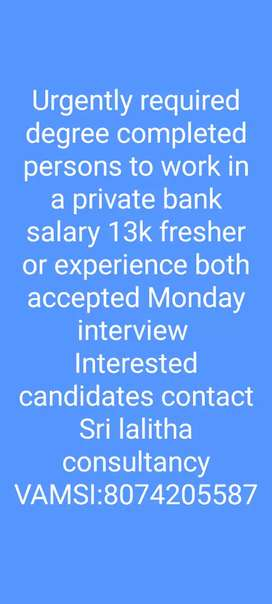 Bank jobs available LALITHA CONSULTANCY