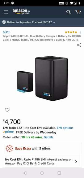 GoPro battery rechargable for Hero black 6-8