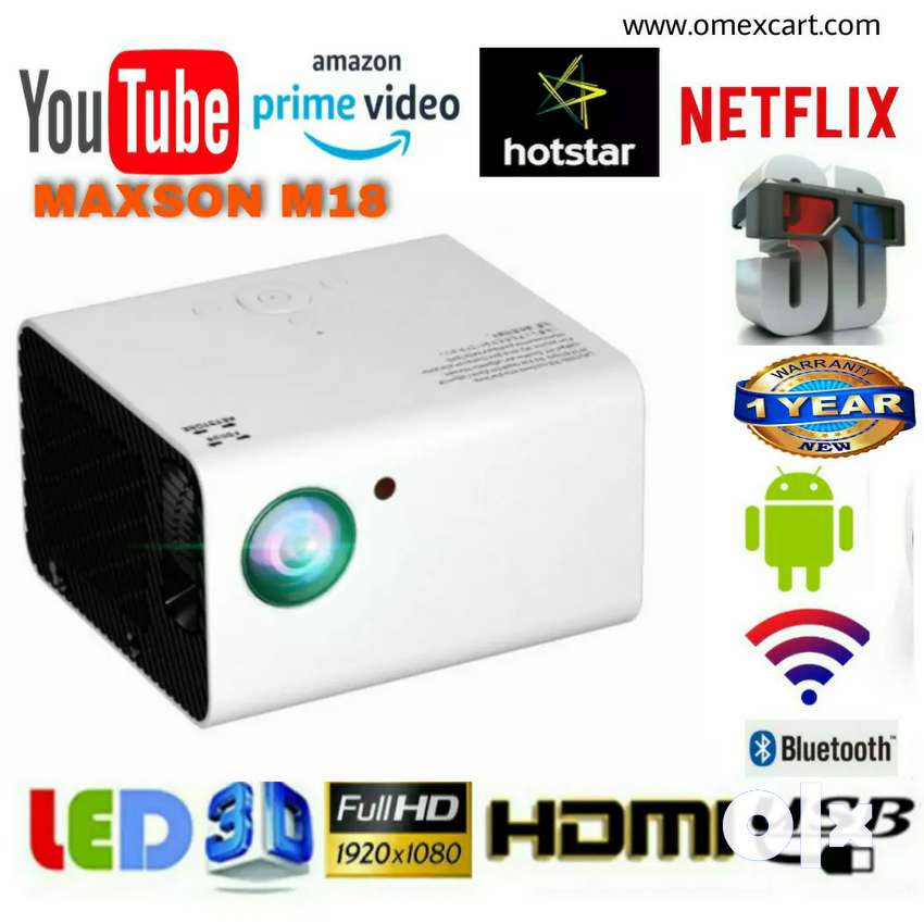 M18 MAXSON 4500LM ANDROID WIFI, BT, 1920×1080p HD LED PROJECTOR