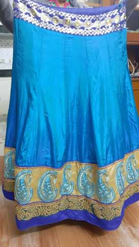 Raw Silk Lehenga - Blue