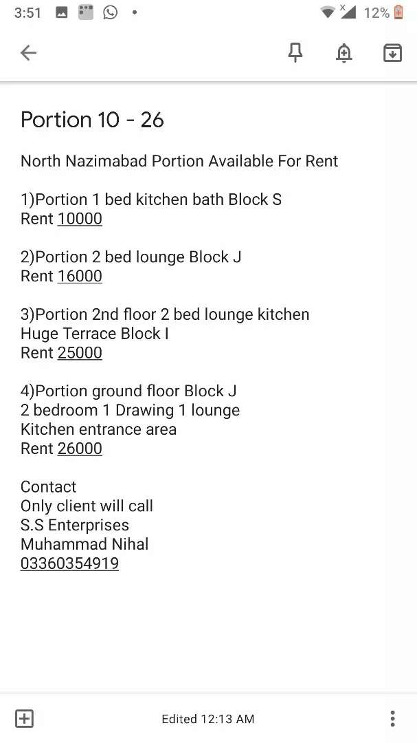 North Nazimabad Portion Available For Rent 0