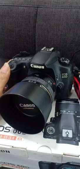 Canon eos 60d mulus like new lensa fix fullset