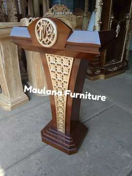 Mimbar podium logo ukir kaligrafi