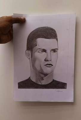 cristiano ronaldo pencil portrait