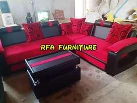 Sofa sudut red maroon ready