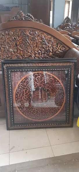 Jam dinding motif pigura khas ukiran Arab, kayu jati, free ongkir