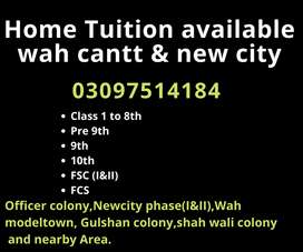 Home Tuition available for all classes in wah cantt and new city