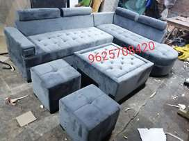 New L-Shape Luxury Sofa Set With table and two puffies