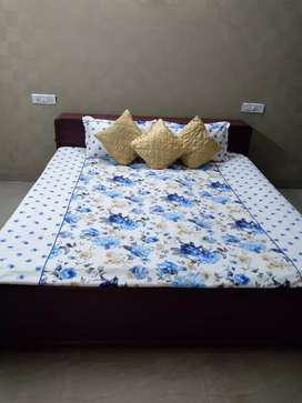 Double box beds in rosewood with mattresses