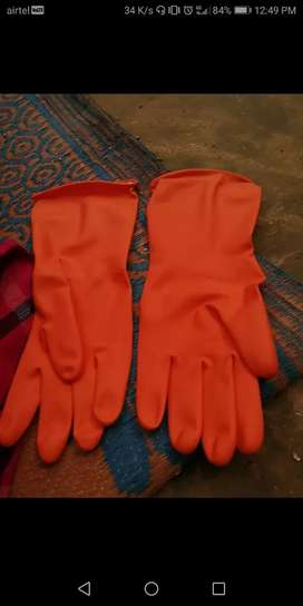 rubber gloves two pair note second hand.