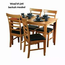 Meja makan minimalis modern kursi 4, bahan kayu jati tua terbaik