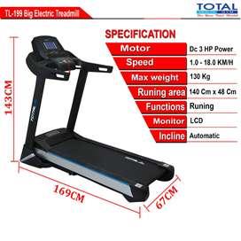 Alat fitnes Treadmill Elektrik Total 3 HP TL 199 I TL199 Baru Garansi